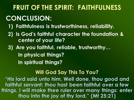 Fruit of the Spirit-Faithfulness